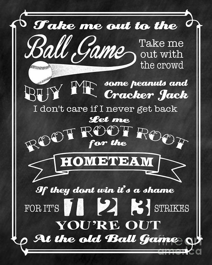 Take Me Out To The Ball Game Chalkboard Background