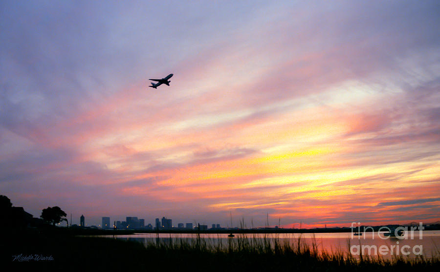 Landscapes Photograph - Take Off At Sunset In 1984 by Michelle Wiarda