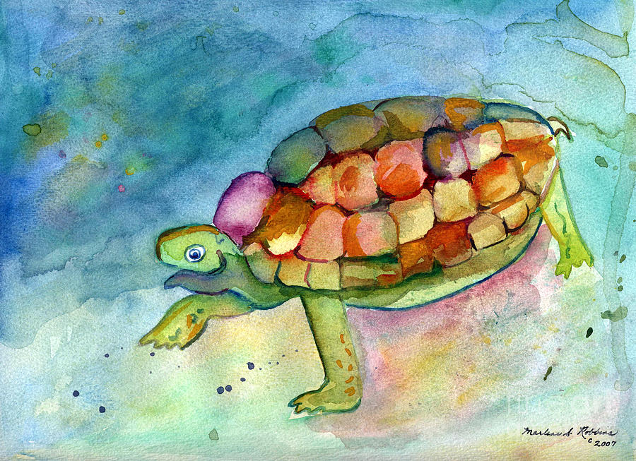 Turtle Painting - Take Your Time by Marlene Robbins