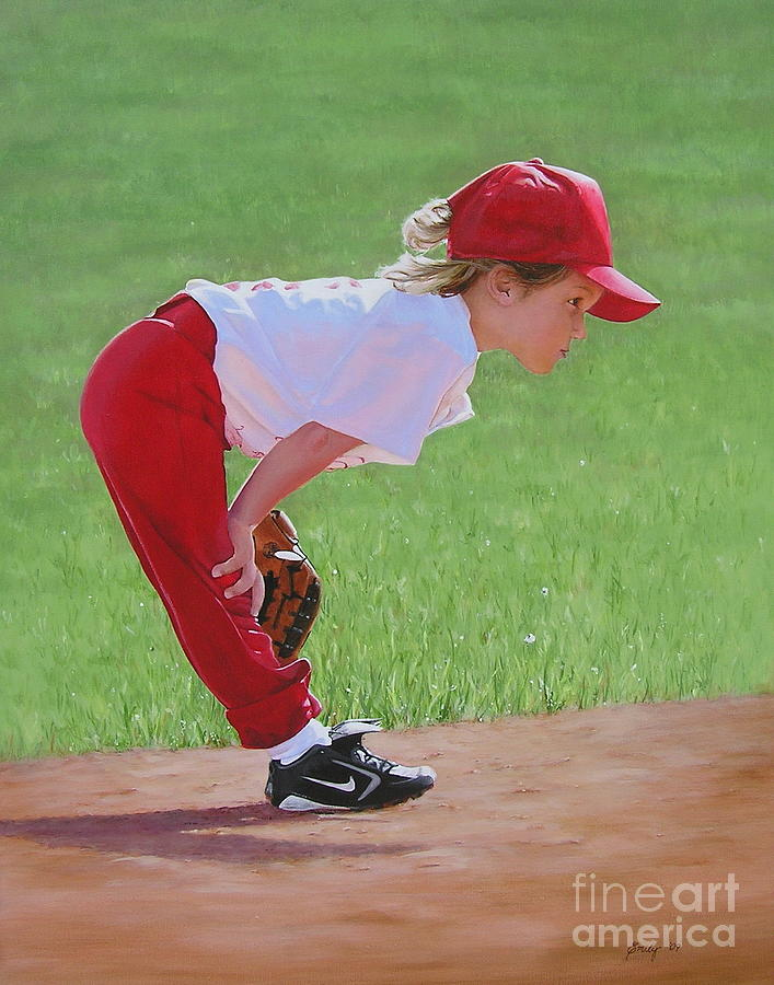 Children Painting - Taking An Infield Position by Emily Land