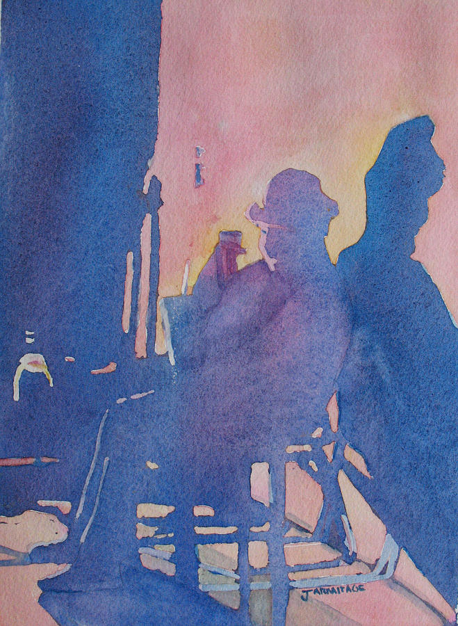 Musician Painting - Taking Ten With My Shadow by Jenny Armitage