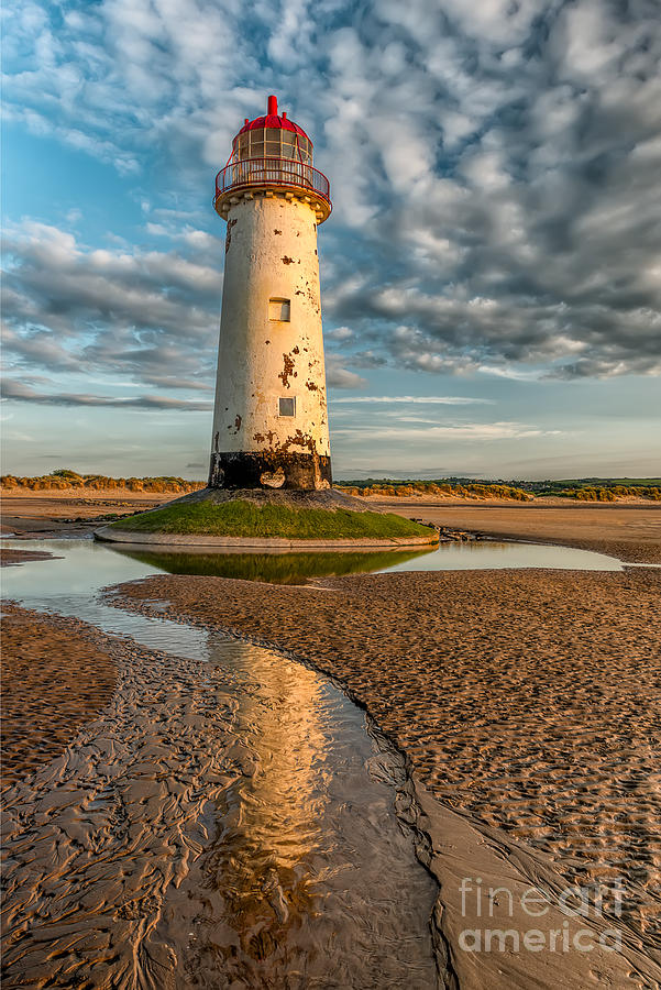 British Photograph - Talacre Lighthouse Sunset by Adrian Evans
