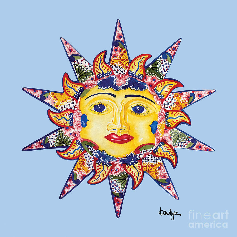 Blue Painting - Talavera Sun-blue by Kandyce Waltensperger