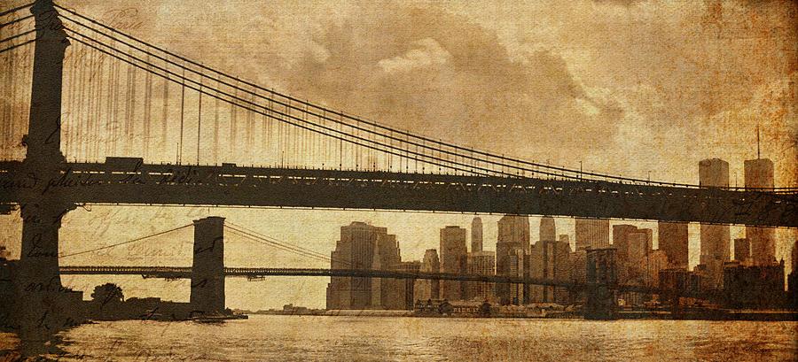 Brooklyn Bridge Photograph - Tale Of Two Bridges by Joann Vitali