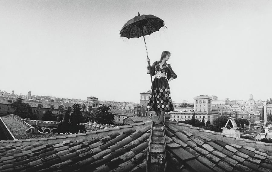 Talitha Getty Walking On Rooftop In Rome Photograph by Maurice Hogenboom