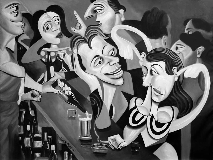 Club Painting - Talking Sweet Nothings At The Bar by Anthony Falbo
