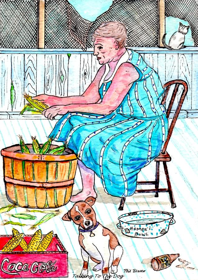 Corn Huskers Painting - Talking To The Dog - Sitting On The Front Porch by Philip Bracco