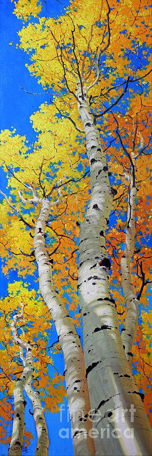 Fall Aspen Painting - Tall Aspen Trees by Gary Kim