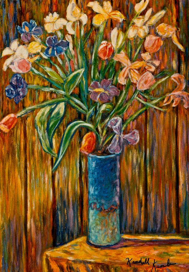 Vase Of Flowers Painting - Tall Blue Vase by Kendall Kessler