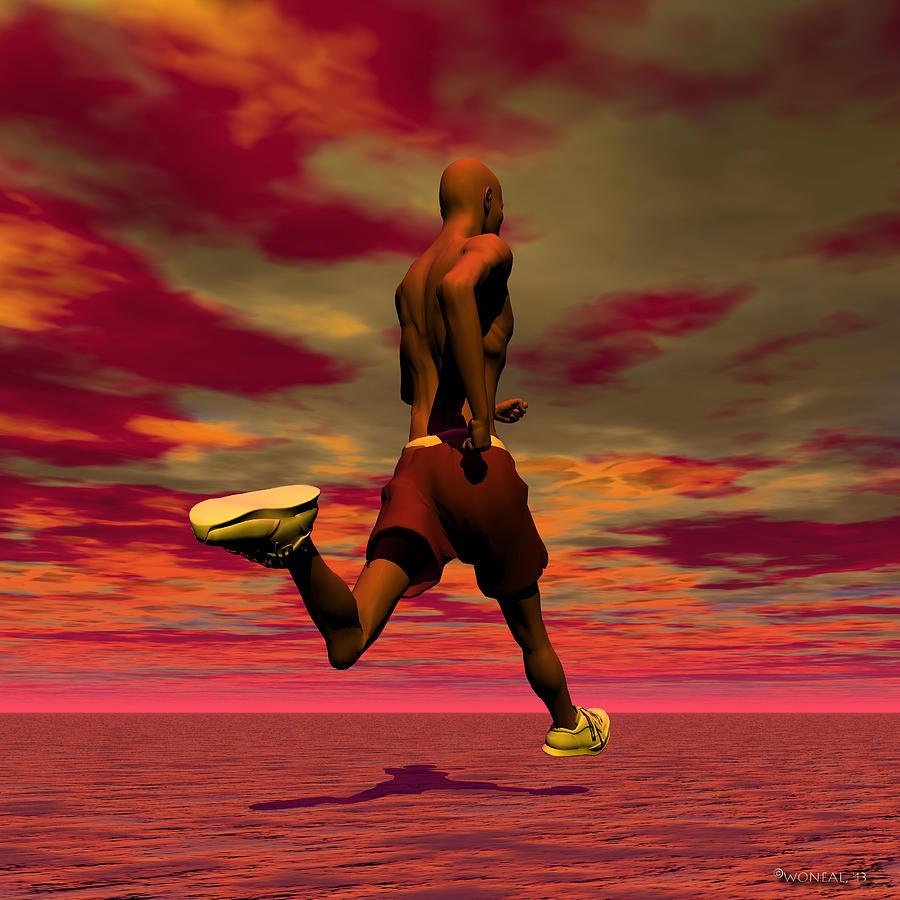 Figures Digital Art - Tall Runner by Walter Oliver Neal
