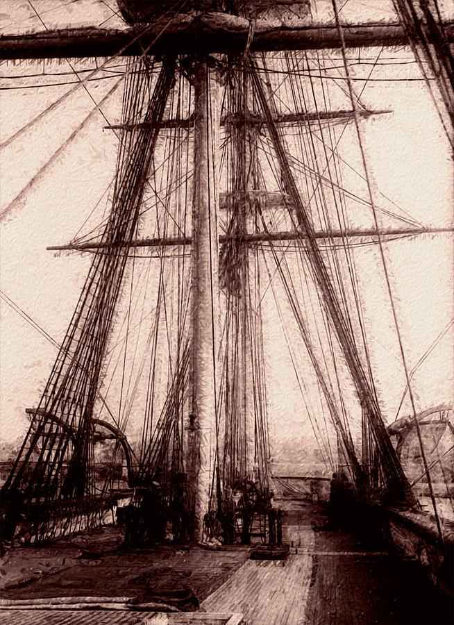 Tall Painting - Tall Ship by Jack Zulli