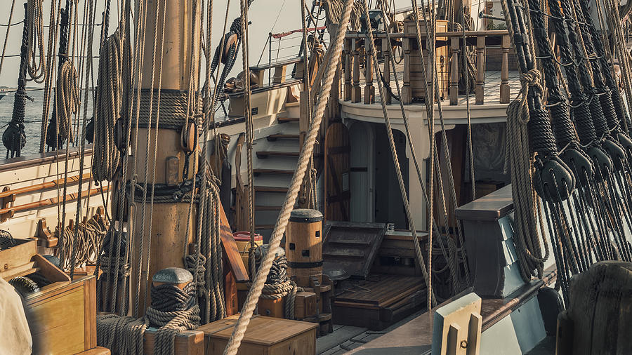 Tall Photograph - Tall Ship Kalmar Nyckel Ropes by Dapixara Art