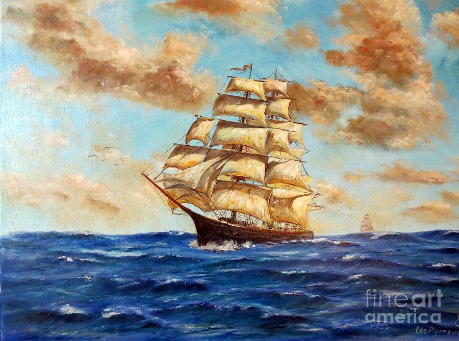 Tall Ship On The South Sea Painting by Lee Piper