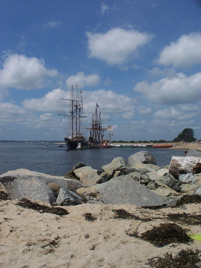 Seascape Photograph - Tall Ships In The Distance by Rosanne Bartlett
