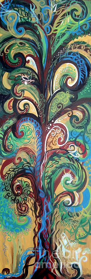 Tree Painting - Tall Tree Winding by Genevieve Esson
