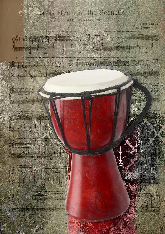 Music Note Digital Art - Tam Tam Djembe - S02a by Variance Collections