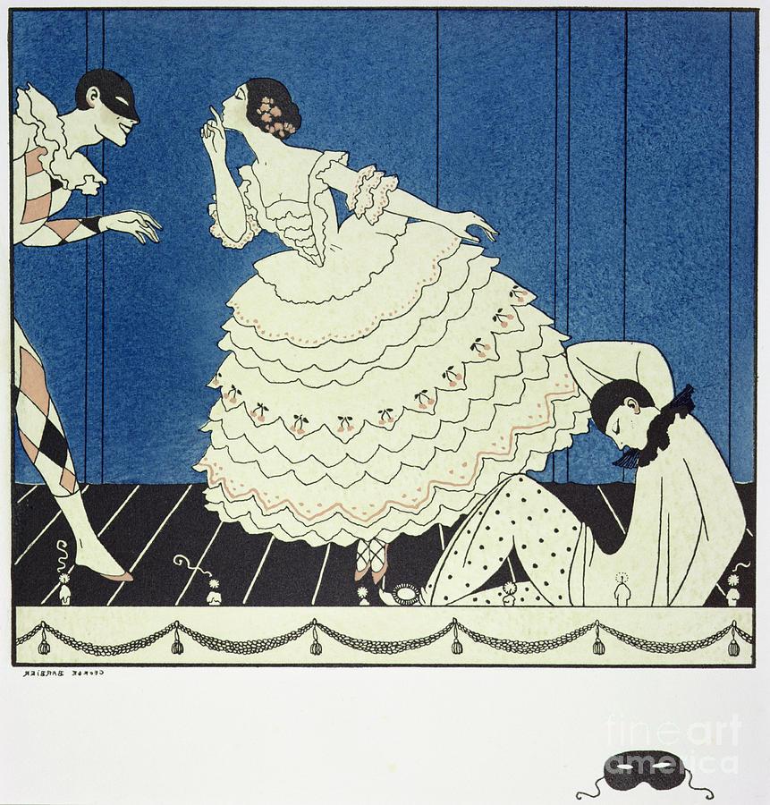 Stencil Painting - Tamara Karsavinaas Columbine by Georges Barbier