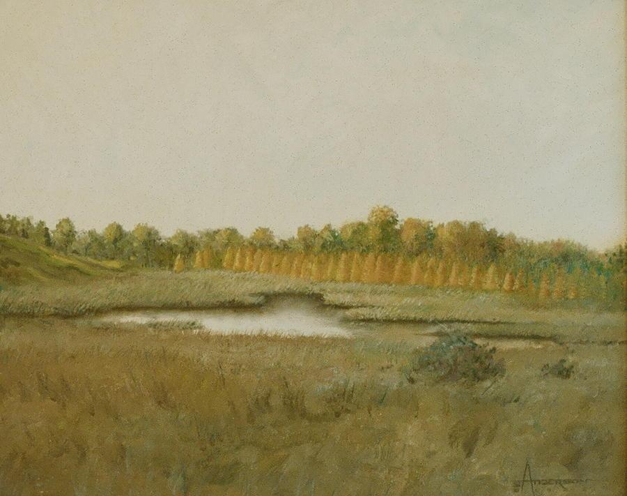 Landscape Painting - Tamarack Pond by Sherri Anderson