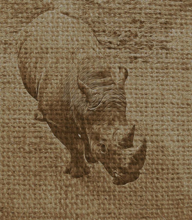 Rhino Photograph - Tan Rhino by Jerry Hart