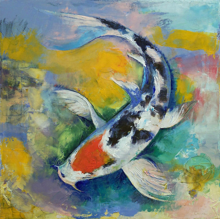 Tancho sanke koi painting by michael creese for Koi prints canvas