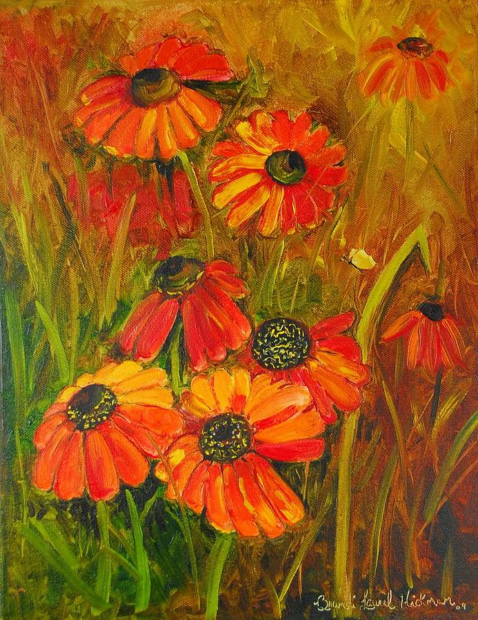 Cone Flower Painting - Tangerine Cone Flowers by Brandi  Hickman