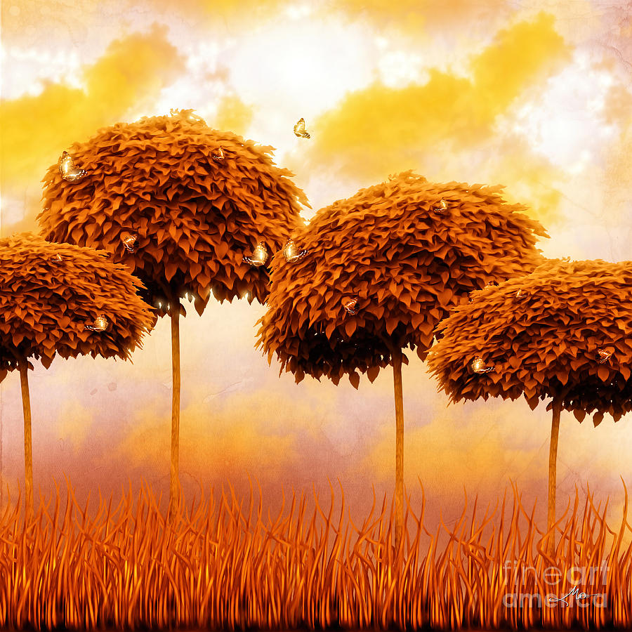 Tangerine Treesand Marmalade Skies Painting - Tangerine Trees And Marmalade Skies by Mo T