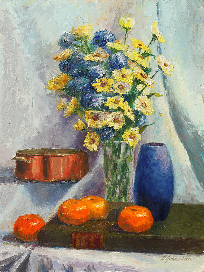 Tangerines Painting - Tangerines And Tome by Beth Johnston