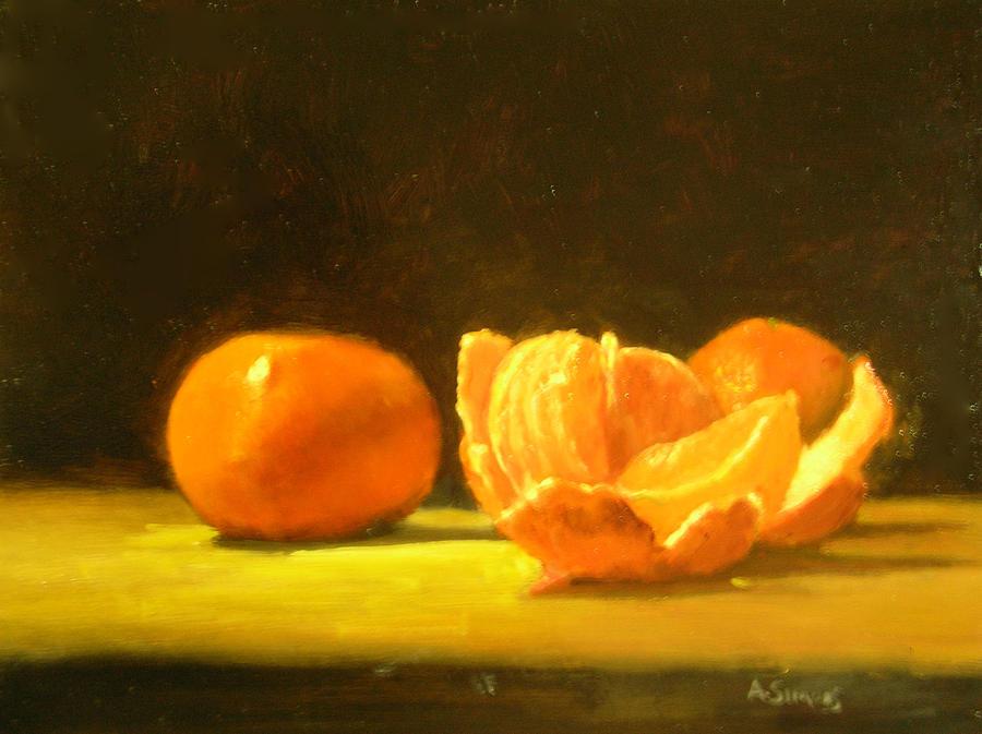 Tangerines Painting - Tangerines by Ann Simons