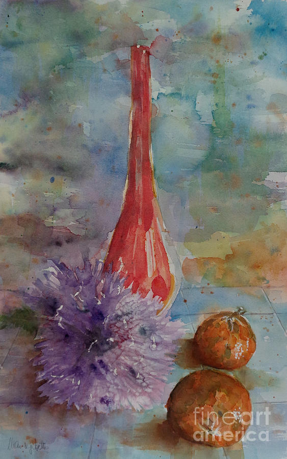 Still Life Painting - Tangerines n dahlias by Marisa Gabetta
