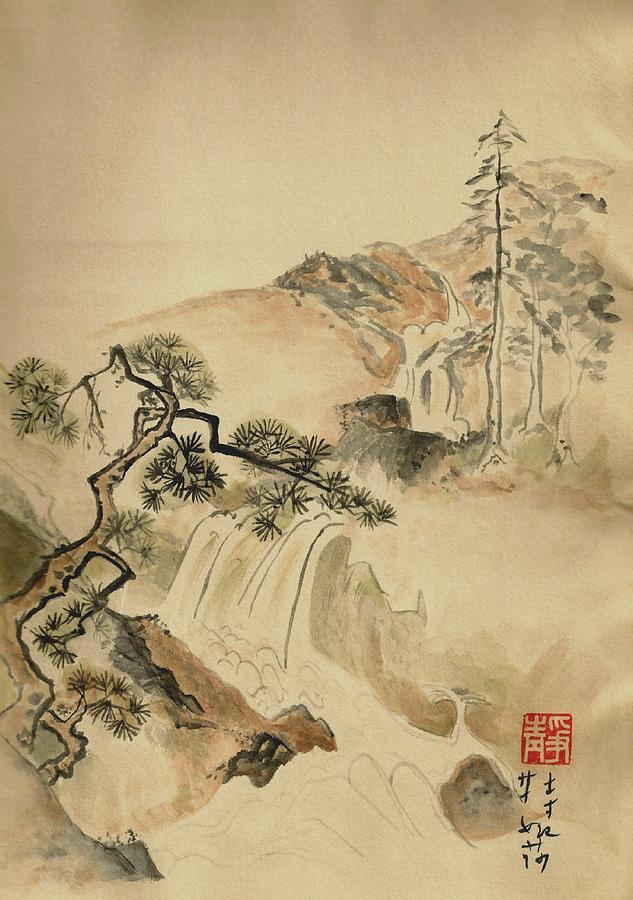 Japanese Painting - Tanyu Tribute by Terri Harris