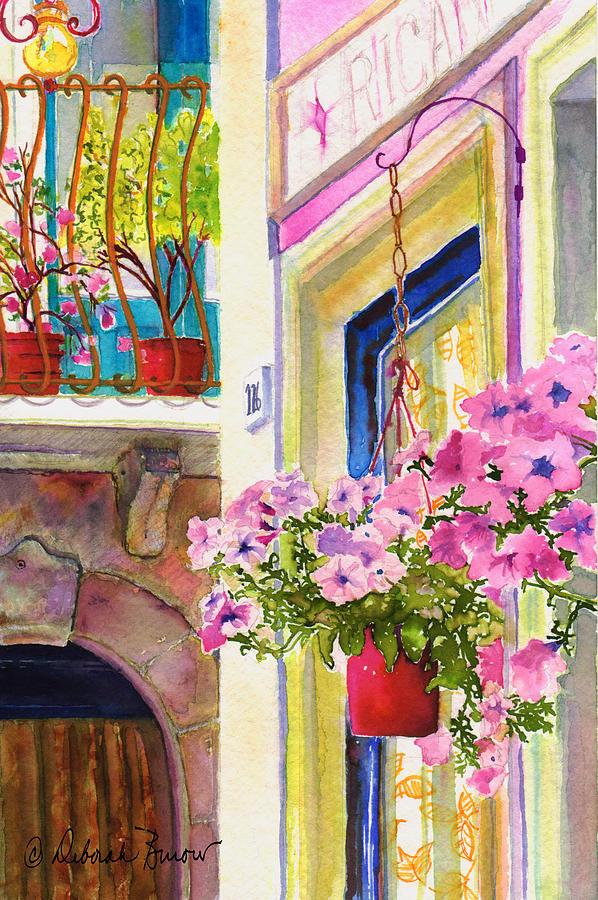 Petunias Painting - Taormina- Hanging Petunias by Deborah Burow