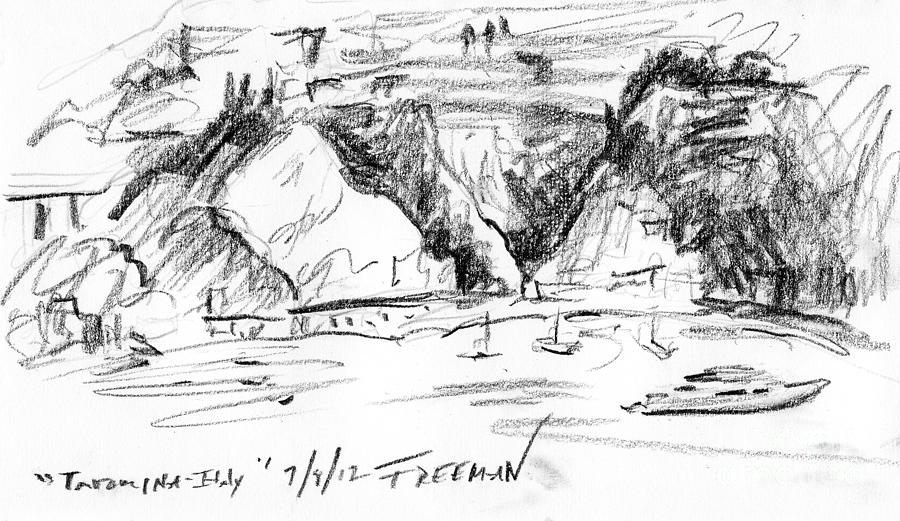 Crystal Cruises Drawing - Taormina Italy by Valerie Freeman