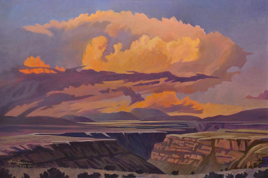 Taos Painting - Taos Gorge - Pastel Sky by Art West
