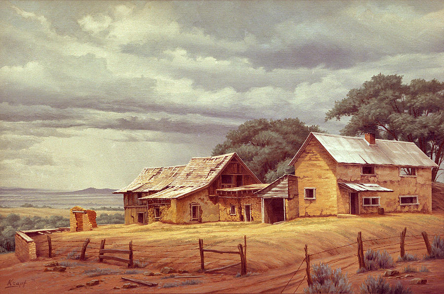 Landscape Painting - Taos Homestead by Paul Krapf