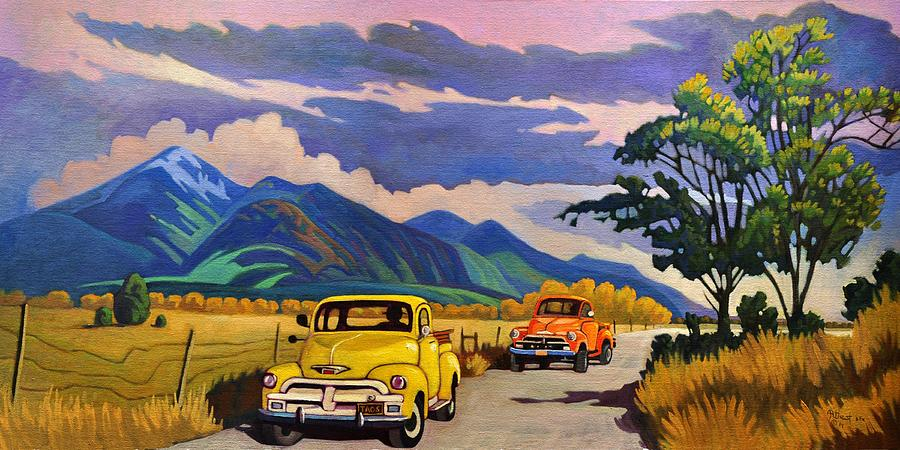 Vintage Painting - Taos Joy Ride With Yellow And Orange Trucks by Art West