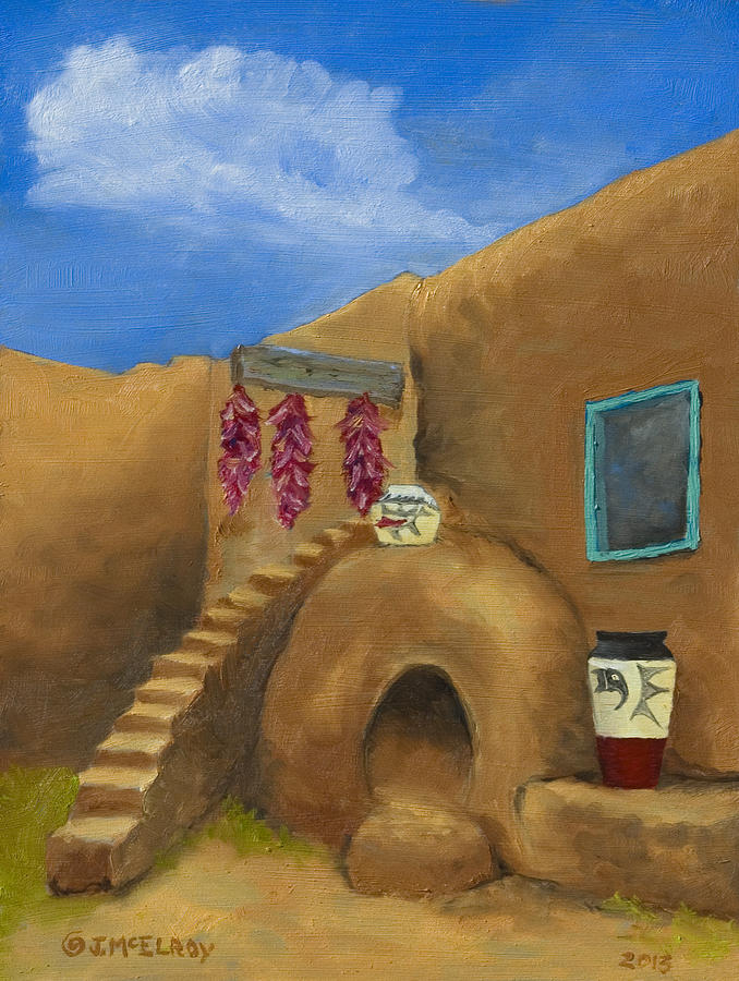 Pueblo Painting - Taos Poetry by Jerry McElroy