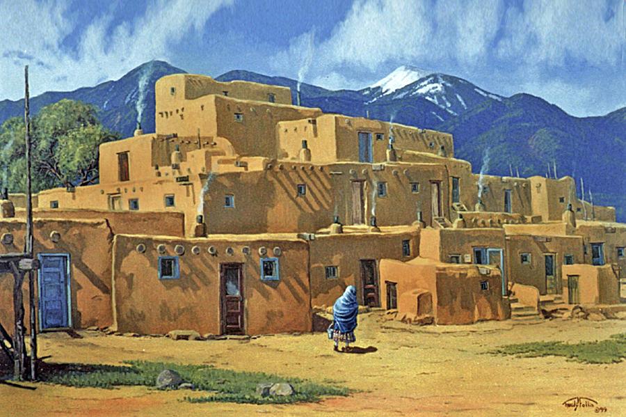 Taos. Pueblo Painting - Taos Pueblo by Randy Follis
