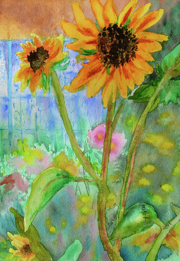Sunflowers Painting - Taos Sunflowers by Beverley Harper Tinsley