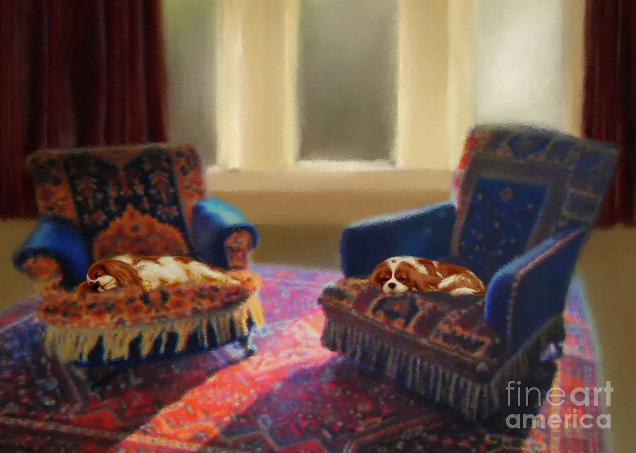 Cavalier Digital Art - Tapestry Chairs Daydreaming Cavaliers by Magna Carta