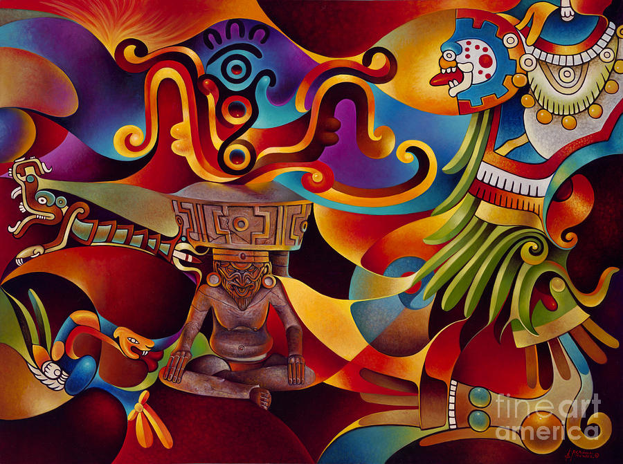 Aztec Painting - Tapestry Of Gods - Huehueteotl by Ricardo Chavez-Mendez