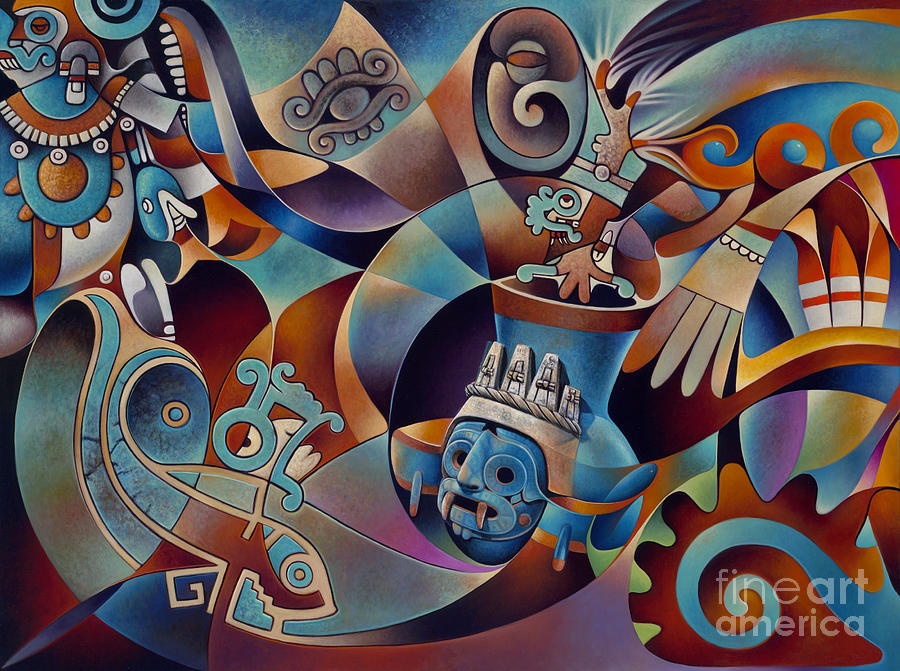 Aztec Painting - Tapestry Of Gods - Tlaloc by Ricardo Chavez-Mendez