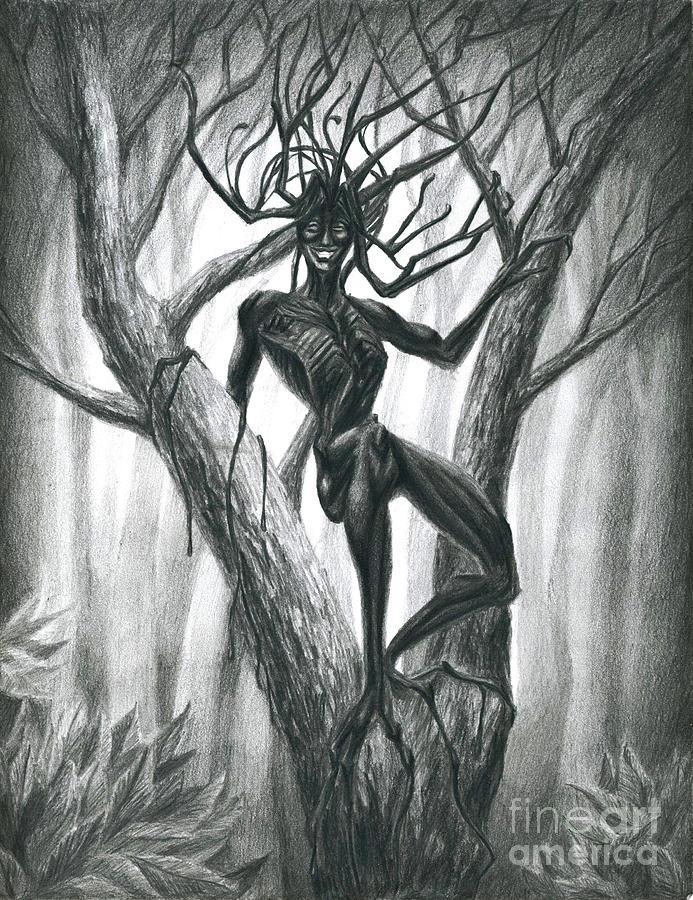 Tar Girl In A Tree Drawing By Alisa Bogodarova