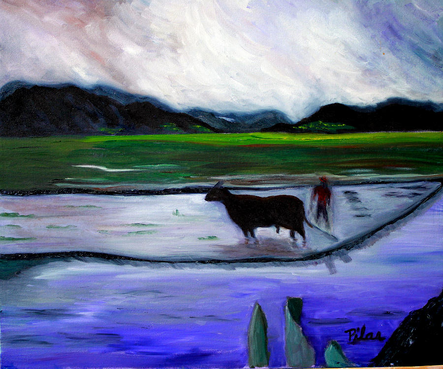 Rice Fields Painting - Tarapoto Peru by Pilar  Martinez-Byrne