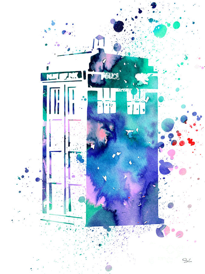 Tardis Painting By Watercolor Girl