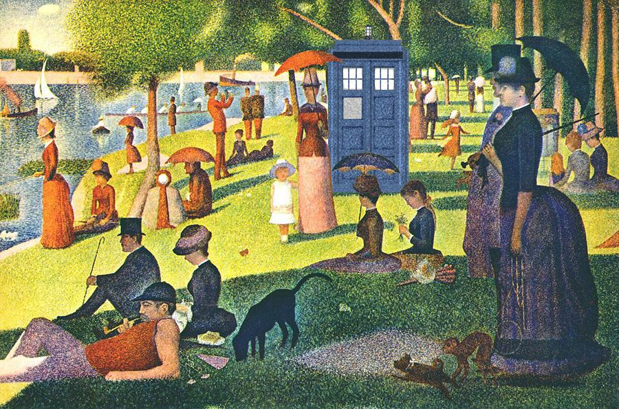 Homage Painting - Tardis V Georges Seurat by GP Abrajano