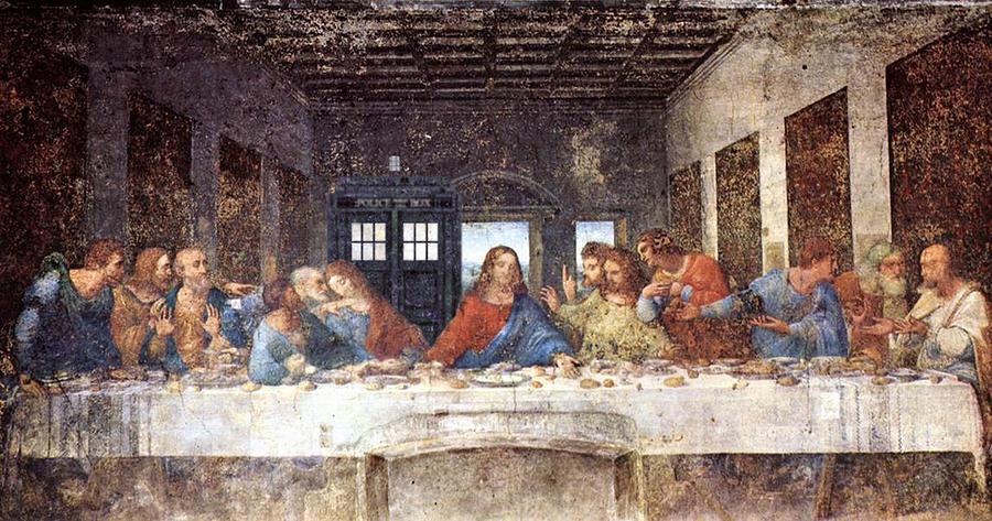 Homage Painting - Tardis V Leonardo Da Vinci by GP Abrajano
