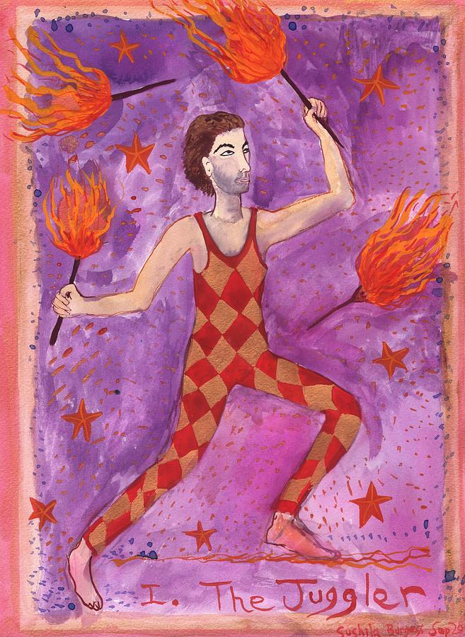 Tarot Painting - Tarot 1 The Juggler by Sushila Burgess