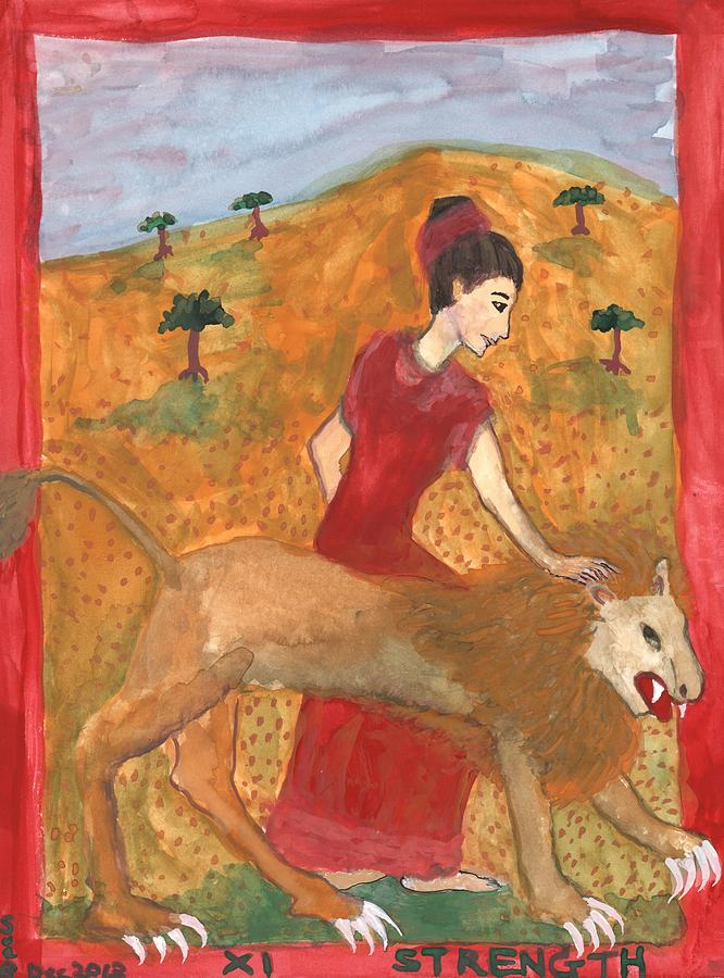 Tarot Painting - Tarot 11 Strength by Sushila Burgess