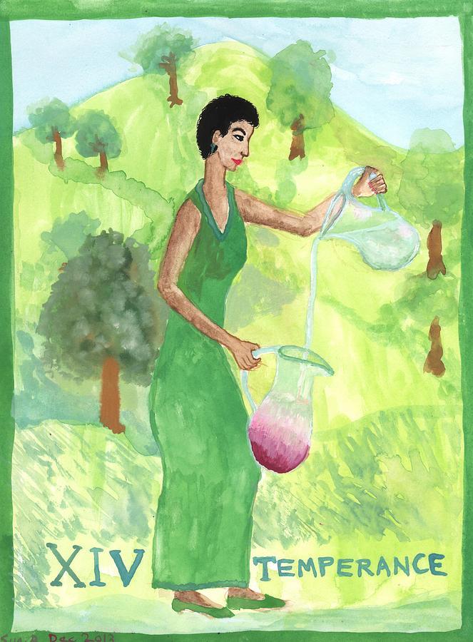 Tarot Painting - Tarot 14 Temperance by Sushila Burgess
