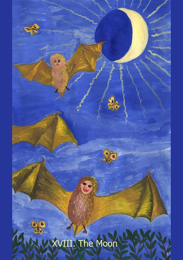 Tarot Painting - Tarot 18 The Moon by Sushila Burgess